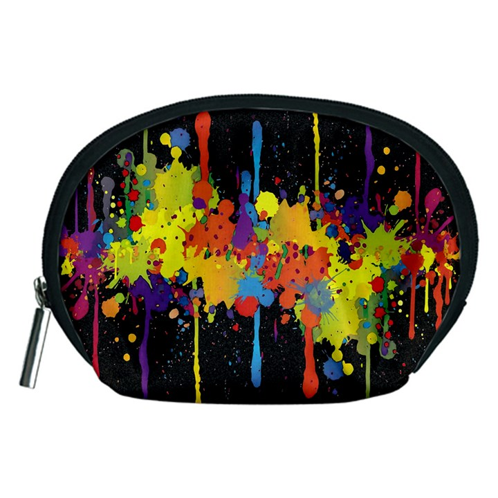 Crazy Multicolored Double Running Splashes Horizon Accessory Pouches (Medium)