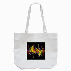 Crazy Multicolored Double Running Splashes Horizon Tote Bag (White)
