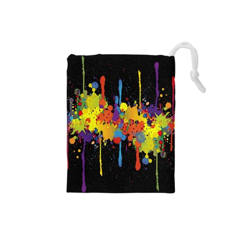 Crazy Multicolored Double Running Splashes Horizon Drawstring Pouches (Small)