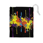 Crazy Multicolored Double Running Splashes Horizon Drawstring Pouches (Large)  Front