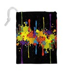 Crazy Multicolored Double Running Splashes Horizon Drawstring Pouches (Large)  Back