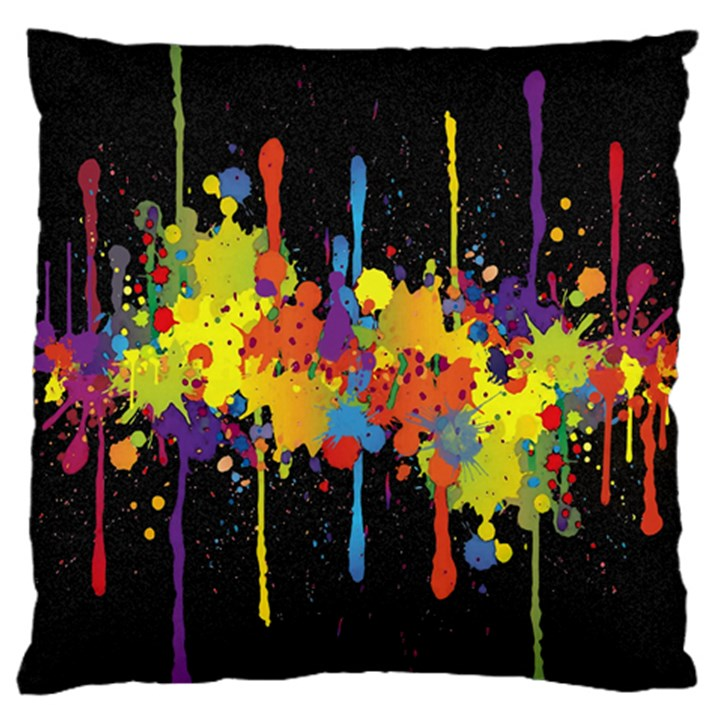 Crazy Multicolored Double Running Splashes Horizon Standard Flano Cushion Case (One Side)