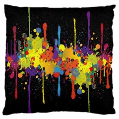 Crazy Multicolored Double Running Splashes Horizon Large Flano Cushion Case (two Sides)
