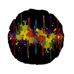 Crazy Multicolored Double Running Splashes Horizon Standard 15  Premium Flano Round Cushions Back