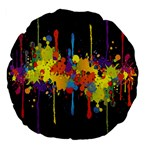 Crazy Multicolored Double Running Splashes Horizon Large 18  Premium Flano Round Cushions Back