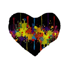 Crazy Multicolored Double Running Splashes Horizon Standard 16  Premium Flano Heart Shape Cushions