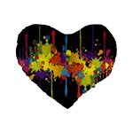 Crazy Multicolored Double Running Splashes Horizon Standard 16  Premium Flano Heart Shape Cushions Front