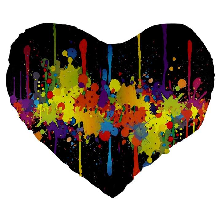 Crazy Multicolored Double Running Splashes Horizon Large 19  Premium Flano Heart Shape Cushions
