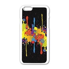 Crazy Multicolored Double Running Splashes Horizon Apple Iphone 6/6s White Enamel Case