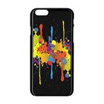 Crazy Multicolored Double Running Splashes Horizon Apple iPhone 6/6S Black Enamel Case Front