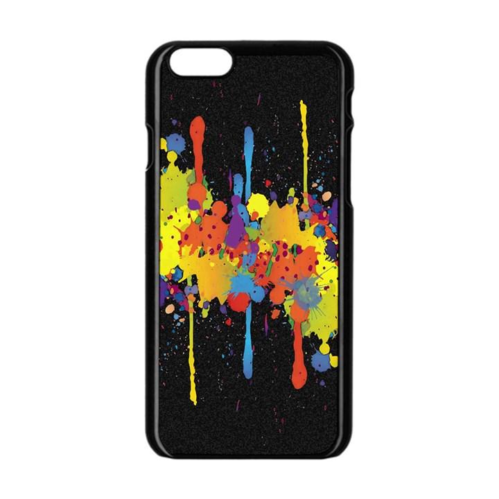 Crazy Multicolored Double Running Splashes Horizon Apple iPhone 6/6S Black Enamel Case