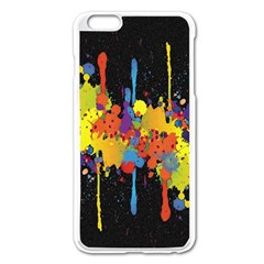 Crazy Multicolored Double Running Splashes Horizon Apple iPhone 6 Plus/6S Plus Enamel White Case
