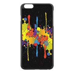 Crazy Multicolored Double Running Splashes Horizon Apple Iphone 6 Plus/6s Plus Black Enamel Case