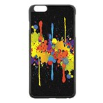Crazy Multicolored Double Running Splashes Horizon Apple iPhone 6 Plus/6S Plus Black Enamel Case Front