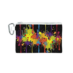Crazy Multicolored Double Running Splashes Horizon Canvas Cosmetic Bag (S)