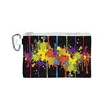 Crazy Multicolored Double Running Splashes Horizon Canvas Cosmetic Bag (S) Front