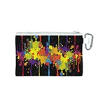 Crazy Multicolored Double Running Splashes Horizon Canvas Cosmetic Bag (S) Back