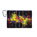 Crazy Multicolored Double Running Splashes Horizon Canvas Cosmetic Bag (M) Front