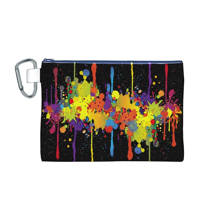 Crazy Multicolored Double Running Splashes Horizon Canvas Cosmetic Bag (M)