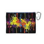 Crazy Multicolored Double Running Splashes Horizon Canvas Cosmetic Bag (M) Back