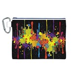 Crazy Multicolored Double Running Splashes Horizon Canvas Cosmetic Bag (L) Front