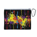 Crazy Multicolored Double Running Splashes Horizon Canvas Cosmetic Bag (L) Back