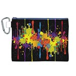 Crazy Multicolored Double Running Splashes Horizon Canvas Cosmetic Bag (XL) Front