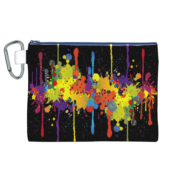 Crazy Multicolored Double Running Splashes Horizon Canvas Cosmetic Bag (XL)