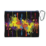 Crazy Multicolored Double Running Splashes Horizon Canvas Cosmetic Bag (XL) Back