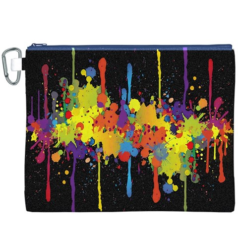 Crazy Multicolored Double Running Splashes Horizon Canvas Cosmetic Bag (XXXL)