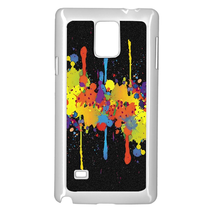 Crazy Multicolored Double Running Splashes Horizon Samsung Galaxy Note 4 Case (White)