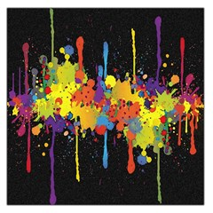 Crazy Multicolored Double Running Splashes Horizon Large Satin Scarf (square)
