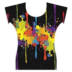 Crazy Multicolored Double Running Splashes Horizon Women s Cap Sleeve Top