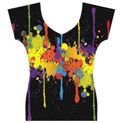 Crazy Multicolored Double Running Splashes Horizon Women s V-Neck Cap Sleeve Top