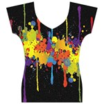 Crazy Multicolored Double Running Splashes Horizon Women s V-Neck Cap Sleeve Top Front