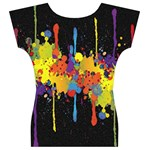 Crazy Multicolored Double Running Splashes Horizon Women s V-Neck Cap Sleeve Top Back