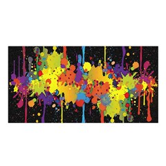 Crazy Multicolored Double Running Splashes Horizon Satin Shawl