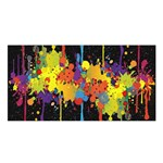 Crazy Multicolored Double Running Splashes Horizon Satin Shawl Front
