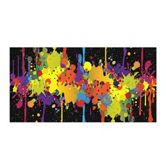Crazy Multicolored Double Running Splashes Horizon Satin Wrap