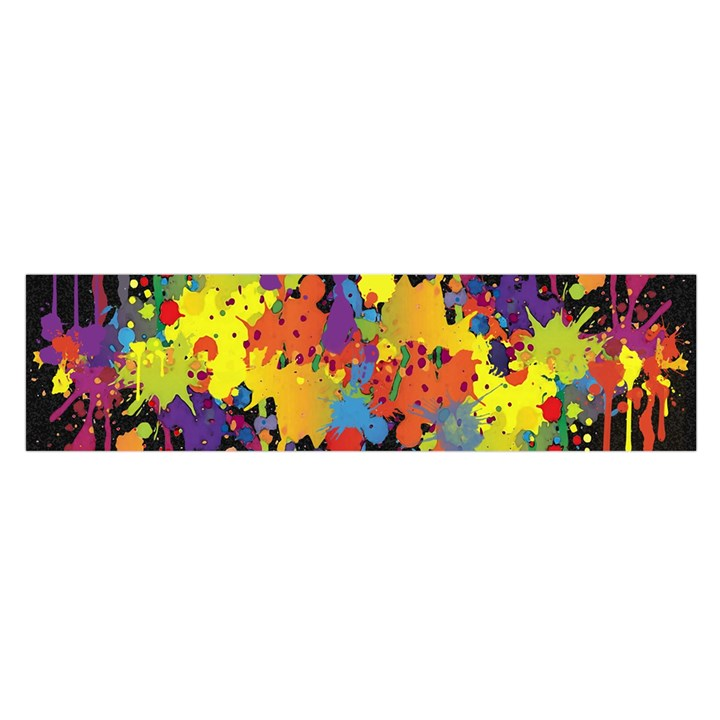 Crazy Multicolored Double Running Splashes Horizon Satin Scarf (Oblong)