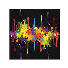 Crazy Multicolored Double Running Splashes Horizon Small Satin Scarf (Square)