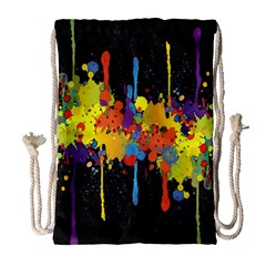 Crazy Multicolored Double Running Splashes Horizon Drawstring Bag (Large)