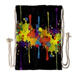 Crazy Multicolored Double Running Splashes Horizon Drawstring Bag (Large) Front