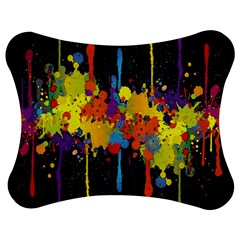 Crazy Multicolored Double Running Splashes Horizon Jigsaw Puzzle Photo Stand (Bow)