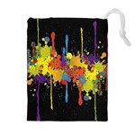 Crazy Multicolored Double Running Splashes Horizon Drawstring Pouches (Extra Large) Front