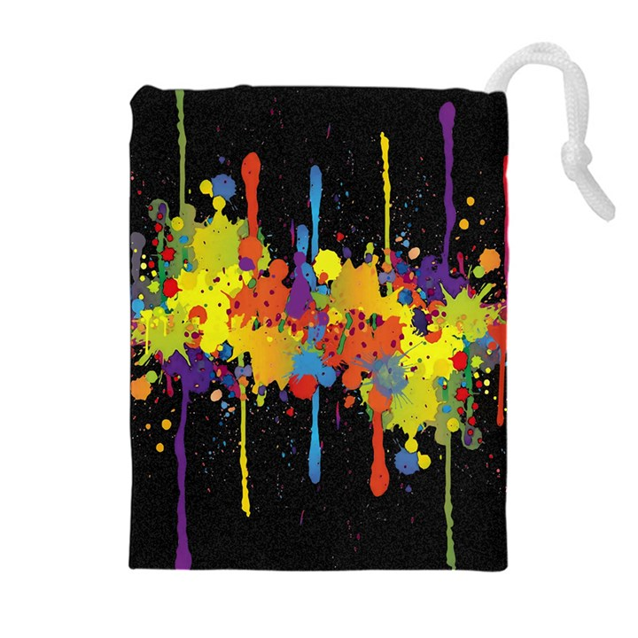 Crazy Multicolored Double Running Splashes Horizon Drawstring Pouches (Extra Large)