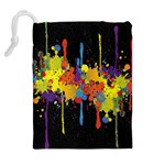 Crazy Multicolored Double Running Splashes Horizon Drawstring Pouches (Extra Large) Back