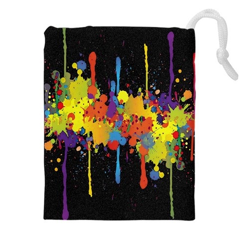 Crazy Multicolored Double Running Splashes Horizon Drawstring Pouches (XXL)
