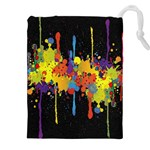 Crazy Multicolored Double Running Splashes Horizon Drawstring Pouches (XXL) Front