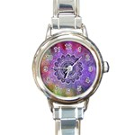 Flower Of Life Indian Ornaments Mandala Universe Round Italian Charm Watch Front